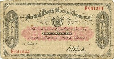British North Borneo ~ Malaya ~ 1940 $1 Dollar ~ P-29 ~ Very Scarce Type