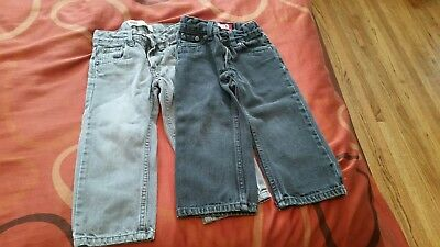 TODDLER LEVIS 549 RELAXED STRAIGHT JEANS ADJUSTABLE WAISTBAND SIZE 2T, 2 pairs