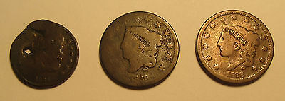 Mixed Lot of 3 Early US 1800's Half Cents & Large Cents All Different Dates!