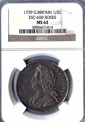 Great Britain 1739 George II Silver Half Crown ESC-600 Roses GRADED MS 62 BY NGC