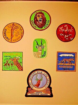 Seven   Kenya  Africa Travel Patches Mounted On Heavy Cardboard