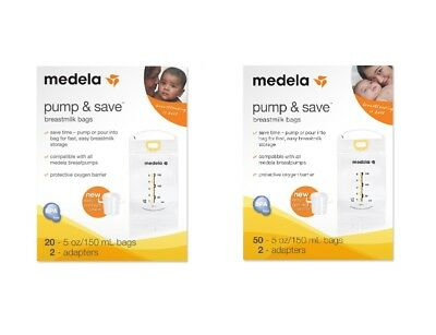 Medela Pump & Save Breastmilk Bags 20ct 50ct and 2 Adapters Storage NEW Original
