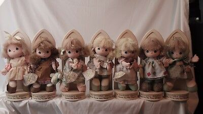Precious Moments Beatitudes doll / dolls w/ stands - Set Of 7