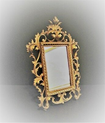 Vintage Antique Nouveau Gold Gilt Rococo Ornate Cast Iron Mirror Picture Frame