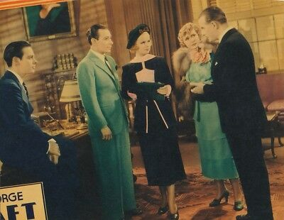 JOAN BENNETT GEORGE RAFT Original Vintage 1935 SHE COULDN'T TAKE IT Lobby Card
