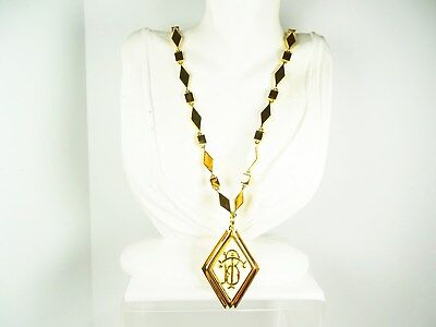 381a60730a309 TORY BURCH $250 Gold Plated Cream Resin TB Initials Removable Pendant  Necklace