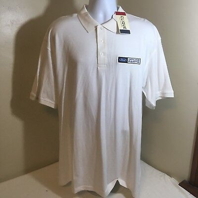 Clique Men's Golf Polo Shirt XXL 2XL White Embroidered Ford Genuine Parts NWT FS