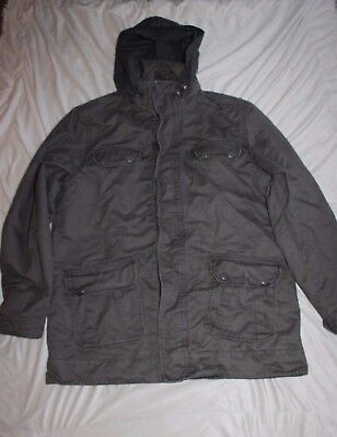 Mens Large canvas field jacket, army green Size XL by Old Navy, Zip Hood