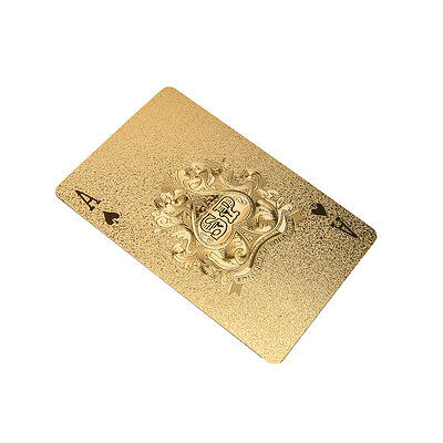 Goldene Poker Deck Magic Card Kunststofffolie Poker Wasserdichte Karte Magie Exq