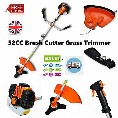 52CC Powerful Petrol Garden Brush Cutter Grass Trimmer Chainsaw Orange 2.2 KW