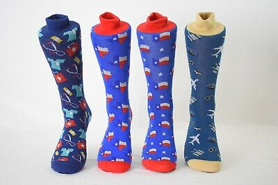 Men's  Fun Crew Socks Aviation, Astronaut, Texas, Referee, Shoe Size 6-12.5