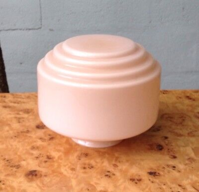 Art Deco milk GLASS LIGHT SHADE stepped PINK Diana Lamp Old