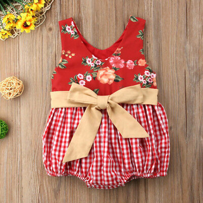 Pretty Toddler Baby Girls Flower Bowknot Plaid Romper Jumpsuit Outfits Sunsuit