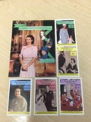 COLLECTION OF STAMPS issued in GRENADINES 40th Wedding Anniversay of QE II