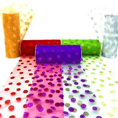 """6""""x10yd Glitter Dot Organza Roll Tulle Fabric Wedding Party Wrap Decor 12 Colors"""