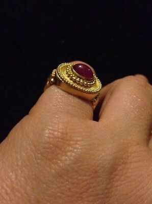 916 Gold 22ct 22k And Ruby Vintage Ancient? Gold Ring Solid Heavy Unusual