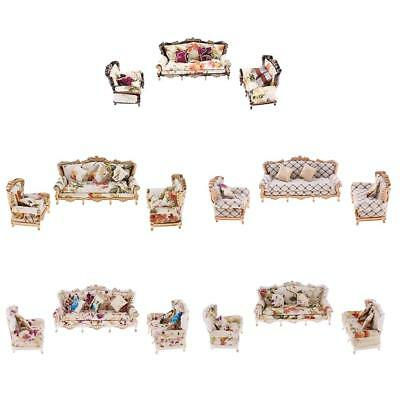 1/25 Scale Doll House Miniature Modern Sofa Living Room Couch w/ Pillow Set