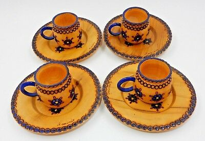 Set Of 4 Vintage Romanian Hand Painted Wooden Cups With Matching Saucers