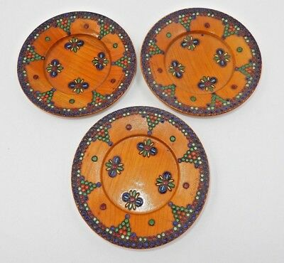Set Of 3 Vintage Matching Romanian Hand Painted Wooden Saucers ~ Multicolored