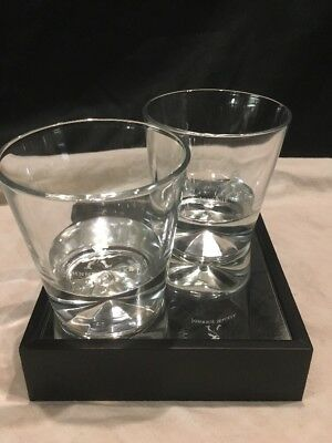 Johnnie Walker Black Label Scotch Diamond Prism Base Old Fashion Rock Glasses 2