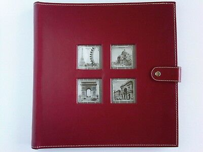 "Sheffield Home Burgundy Red Photo Album Large 14x14"" 400 Slots Faux (?) Leather"