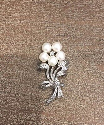 Sterling Silver Diamond And Pearl Accent Flower Brooch