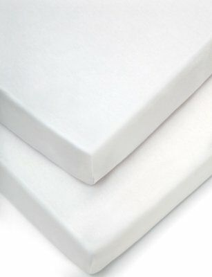 2x Cot Bed Fitted Sheets PolyCotton By Sasa Craze Bedding White