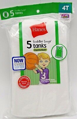 5 Toddler Boys Hanes White Cotton Tanks  Sizes 4T - New in package
