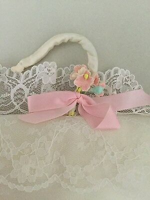 Unused Vintage Ivory Lace/pink Bow/flower Padded Silky Hanger Bridal/lingerie