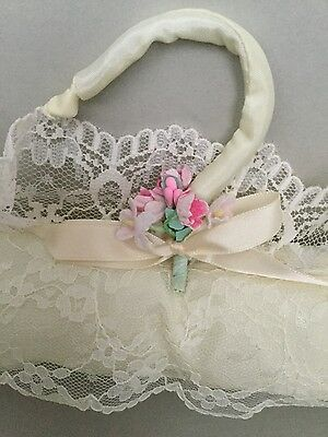 Unused Vintage Cream Lace/bow/pink Flower Padded Silky Hanger Bridal/lingerie