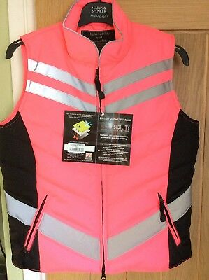 BNWT Equisafety Quilted Hi Viz Waistcoat/Gilet Pink Size Small