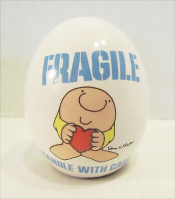 ZIGGY FRAGILE HANDLE WITH CARE HEART CERAMIC EGG FIGURINE 1980s TOM WILSON COMIC
