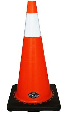 """28"""" RK Orange Safety Traffic PVC Cones, Black Base with One Reflective Collar"""
