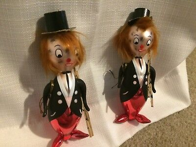 2 VTG Hand Painted Christmas Ornament ITALY De Carlini Circus-Clown with ladder