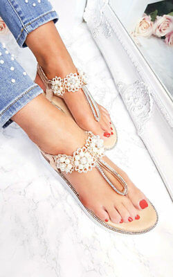 5dc164d0727bf6 IKRUSH WOMENS AVIANA Pearl Embellished Wedged Sandals - EUR 17