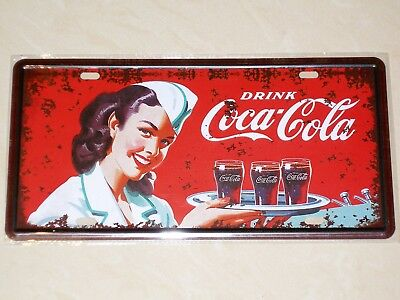 Coca-Cola Retro Waitress - Novelty Metal Number Plate / Licence Plate / Sign