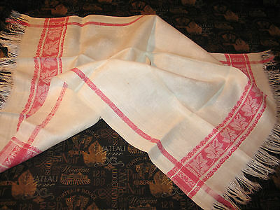 Beautiful Redwork Woven Damask FRENCH CHATEAU Antique SHOW Towel c1900 -Ivy-Oak