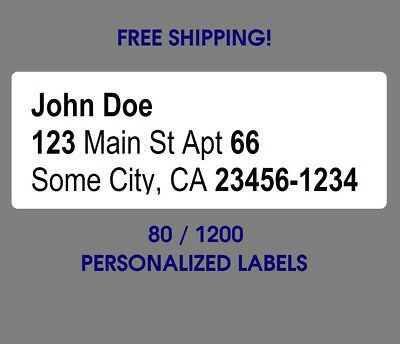 "Printed Personalized Return Mailing Address Labels Stickers 1/2"" x 1 3/4"""