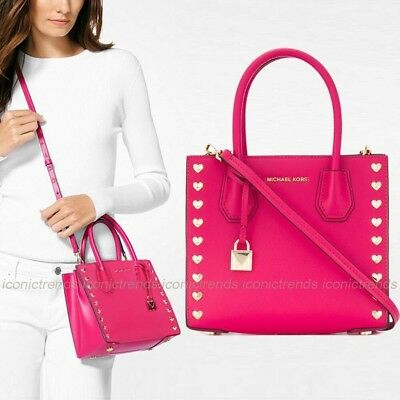 62de48386cd2 NWT💕 Michael Kors Mercer Medium Messenger Leather Hearts Studded Bag Ultra  Pink