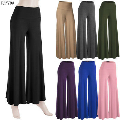 Women Soft Yoga Fold Over Pant Flare Wide Leg Palazzo Lounge Gym Sports Athletic