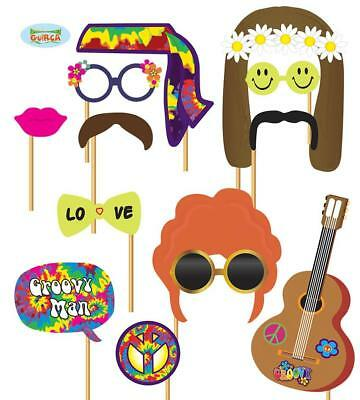 Photo Booth Fotobox Hochzeit Party Verkleidung Schnurrbart Brille Hippie Set 12