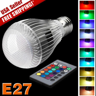 16 Color Changing Magic Light E27 9W 3W RGB LED Lamp Bulb + IR Remote Control