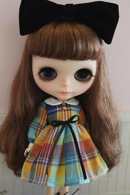 Blythe Long sleeved Colored plaid Dress Doll outfit fitazone,licca,pullip
