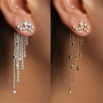 Charm Women Rhinestone Long Tassel Chain Ear Stud Cuff Clip Dangle Earrings