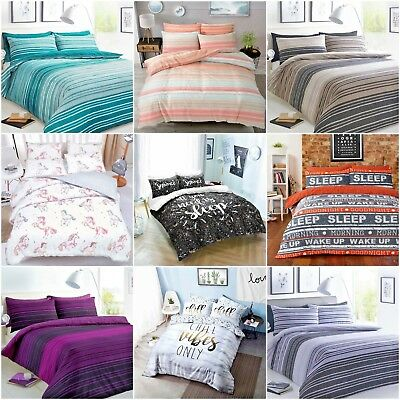 4PC Reversible Complete Duvet Cover Bedding Sets with Fitted Sheet + Pillowcases