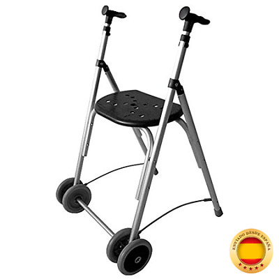 Andador Rollator | De aluminio | Plegable | Regulable en altura | Color negro