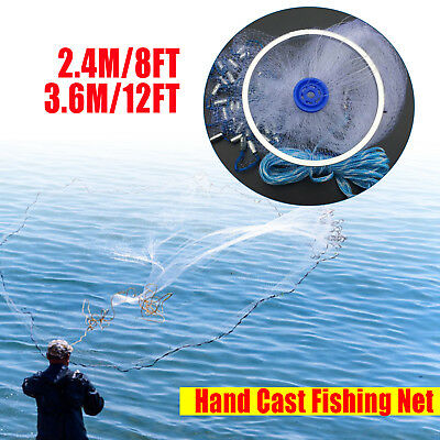 8ft-12ft Trap Hand Throw Fishing Mesh Chain Spread Bottom Bait Cast Net Gill