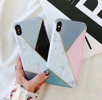 New Luxury geometric pattern marble Phone case for iphone XS MAX 6 6s 7 8 plus X