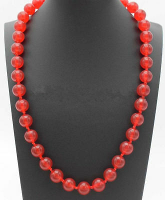 Genuine 12mm Natural Red Jade Round Gemstone Beads Necklace 18'' AAA
