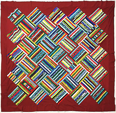 Patchwork Abstract Scrap quilt QUILT TOP - Nice Masculine Colors